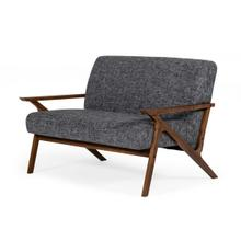 See Details - Modrest Candea - Mid-Century Walnut and Grey Loveseat