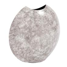 View Product - Round Gray Marbled Iron Disc Vase, Large