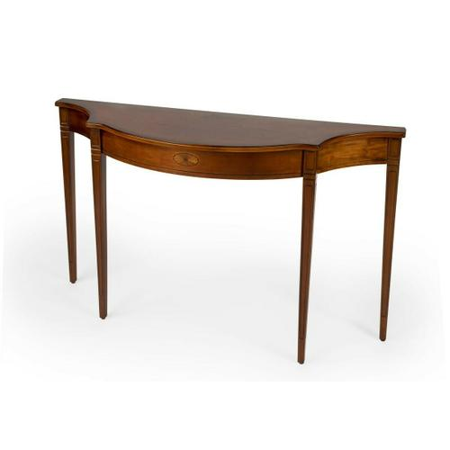 Butler Specialty Company - This Pembroke-inspired console is highly elegant, yet unpretentious. Ideal in a hallway, foyer or entryway, it is crafted from rubberwood solids and wood products featuring beautiful curves with a cherry veneer top, linen-fold inlay patterns of maple and walnut veneers on both the top and apron front, all in a rich Olive Ash Burl finish.