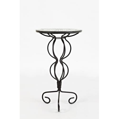 Global Archive Iron Pedestal Table With Mosiac Top