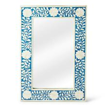 See Details - This magnificent Wall Mirror features sophisticated artistry and consummante craftsmansip. The botanic patterns covering the piece are created from white bone inlays cut and individually applied in a sea of blue by the hands of a skillful artisan. No two mirrors are ever exactly alike, ensuring this piece will hang as a bonafide orginal.