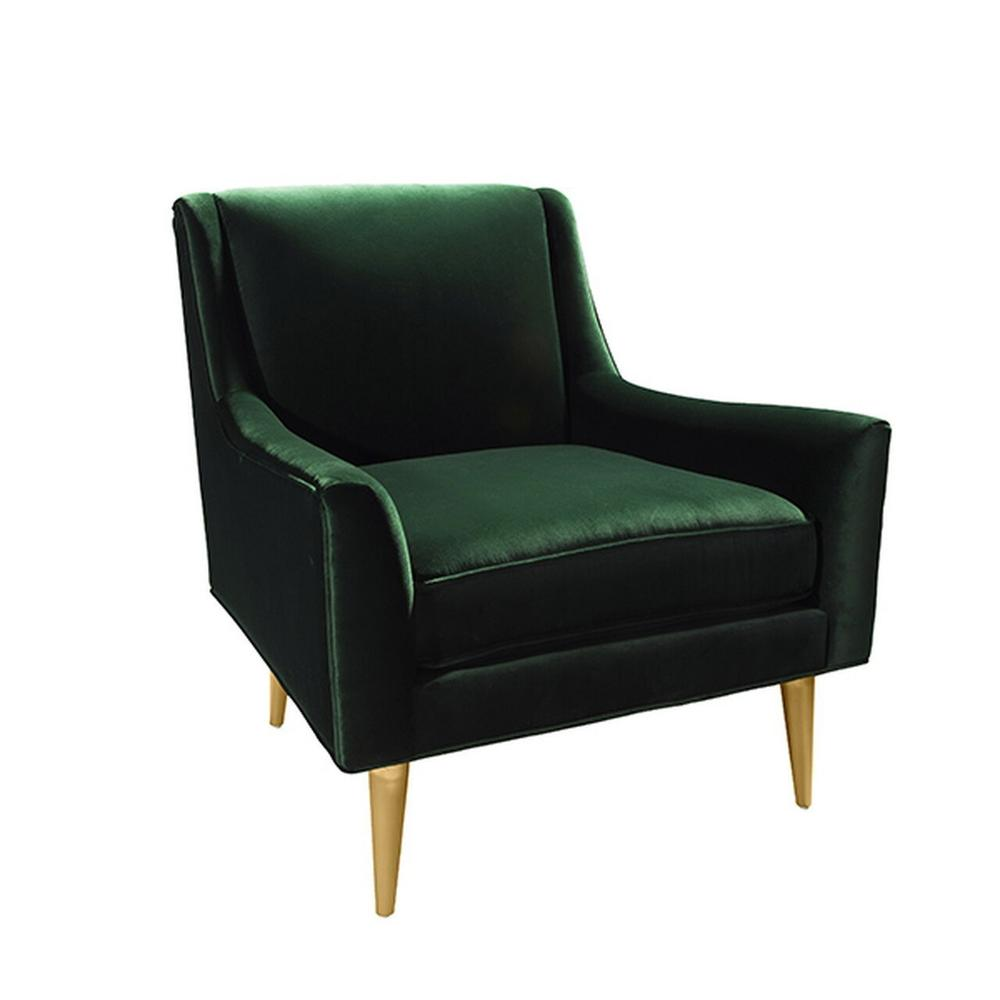 Lounge Chair With Brass Legs In Green Velvet