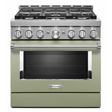 See Details - KitchenAid® 36'' Smart Commercial-Style Gas Range with 6 Burners - Matte Avocado Cream