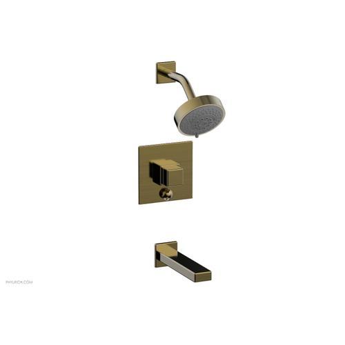 MIX Pressure Balance Tub and Shower Set - Cube Handle 290-29 - Antique Brass