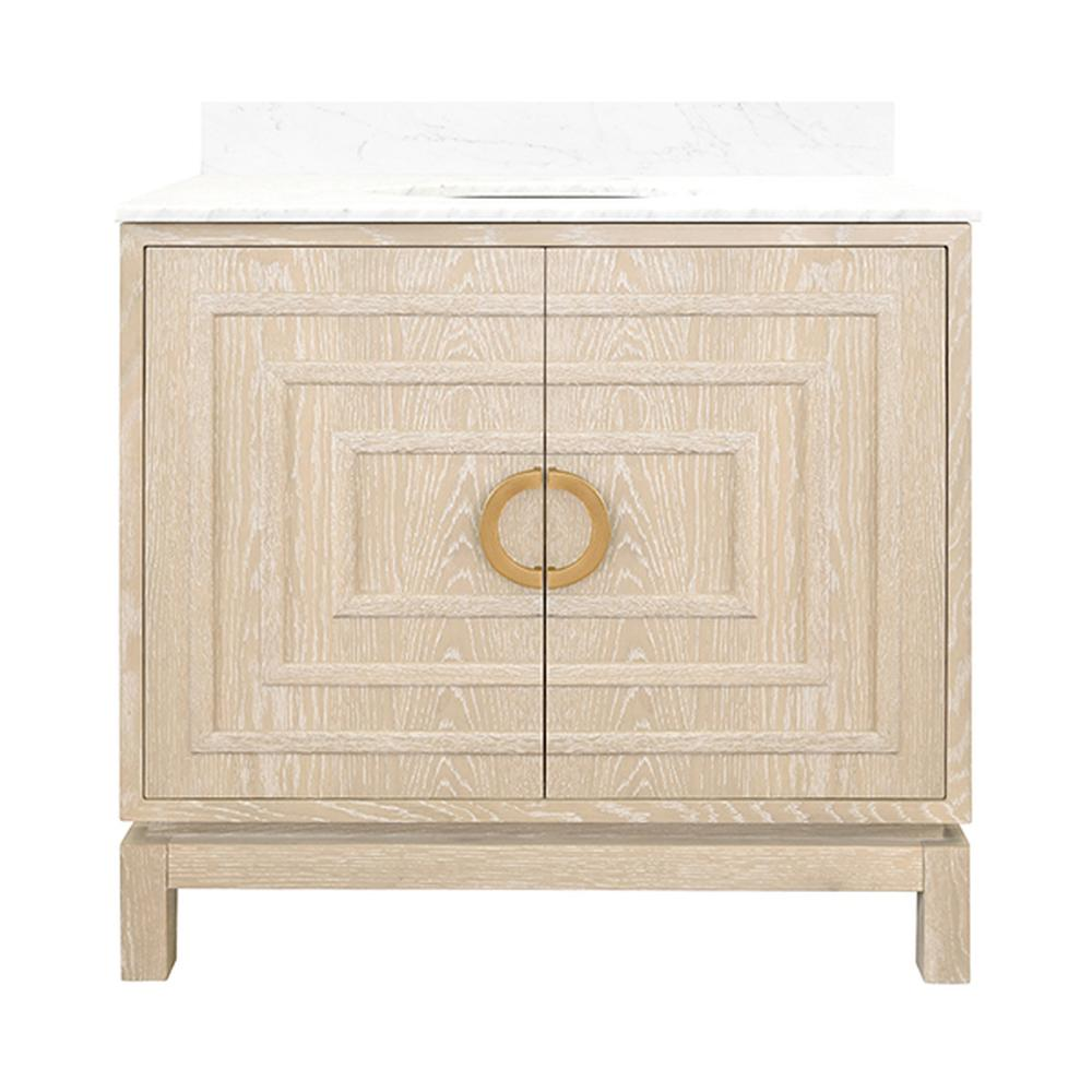 """See Details - The Art Deco-inspired Bixby Bath Vanity Is the Ultimate Centerpiece for Your Master Bath or Powder Room. an Artful Combination of Natural Materials and Geometric, Dimensional Surfaces, Bixby Delights With Rich Cerused Oak, Repeating Raised Square Pattern, and Antique Brass Circle Hardware. Crowned With White Carrara Marble Top and Porcelain SINK. A 4"""" Tall, Full Length White Carrara Marble Backsplash Comes Detached for Your Custom Installation."""