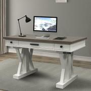 AMERICANA MODERN - COTTON 56 in. Power Lift Desk (from 23 in. to 48.5 in.) (AME#256T and LIFT#200WHT) Product Image