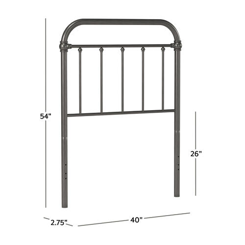 Kirkland Metal Twin Headboard Without Frame, Aged Pewter