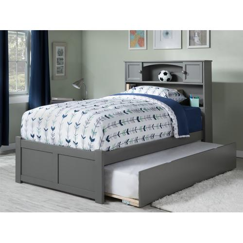 Newport Full Flat Panel Foot Board with Urban Trundle Atlantic Grey