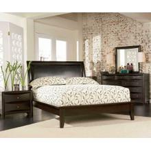 See Details - Phoenix Deep Cappuccino Queen Platform Bed With Faux Leather Panel Headboard