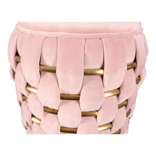 VIG Furniture - Divani Casa Meeker - Pink Velvet + Gold Woven Ottoman