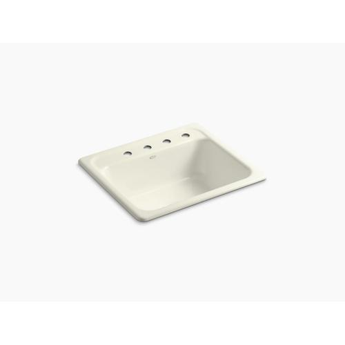 """Biscuit 25"""" X 22"""" X 8-3/4"""" Top-mount Single-bowl Kitchen Sink With 4 Faucet Holes"""