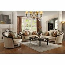 ACME Ernestine Loveseat w/6 Pillows - 52111 - Tan Fabric & Black