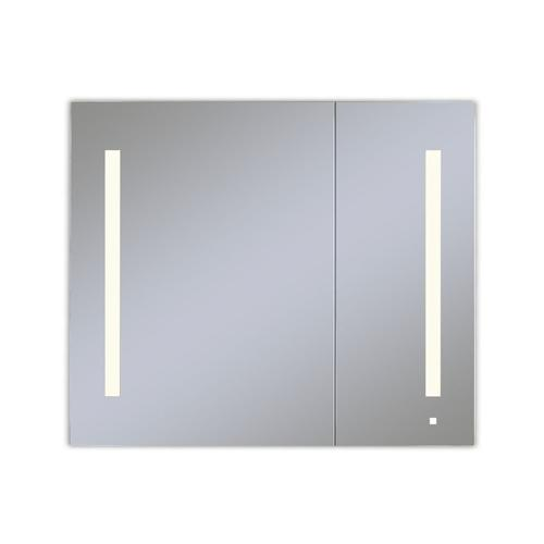 """Aio 35-1/4"""" X 30"""" X 4"""" Dual Door Lighted Cabinet With Large Door At Left With Lum LED Lighting In Soft White (2700k), Dimmable, Built-in Om Audio, Interior Lighting, Electrical Outlet, Usb Charging Ports and Magnetic Storage Strip"""