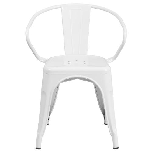 White Metal Indoor-Outdoor Chair with Arms