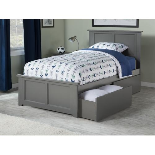 Madison Twin XL Bed with Matching Foot Board with 2 Urban Bed Drawers in Atlantic Grey