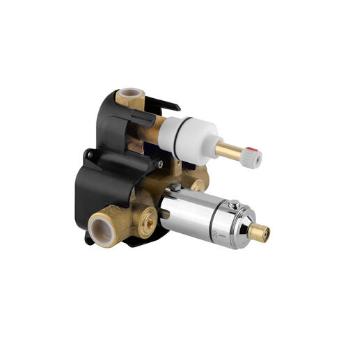 "Thermostatic valve, 1/2"" connections ROUGH VALVE with integral stop and 1-way diverter"
