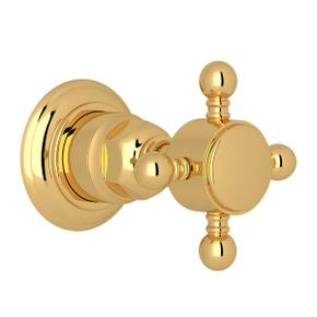 Trim for Volume Control and 4-Port Dedicated Diverter - Unlacquered Brass with Cross Handle