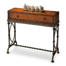 Physically distressed finish on selected solid woods, wood products and choice cherry veneers. Dark grey textured finish metal base. Drawer with antique brass finished hardware.