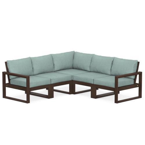 Polywood Furnishings - EDGE 5-Piece Modular Deep Seating Set in Mahogany / Glacier Spa