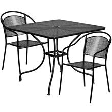 35.5'' Square Black Indoor-Outdoor Steel Patio Table Set with 2 Round Back Chairs