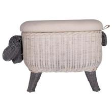 """Product Image - 23-3/4""""W x 13""""D x 16-1/4""""H Woven Sheep Storage Stool w/ Upholstered Lid"""