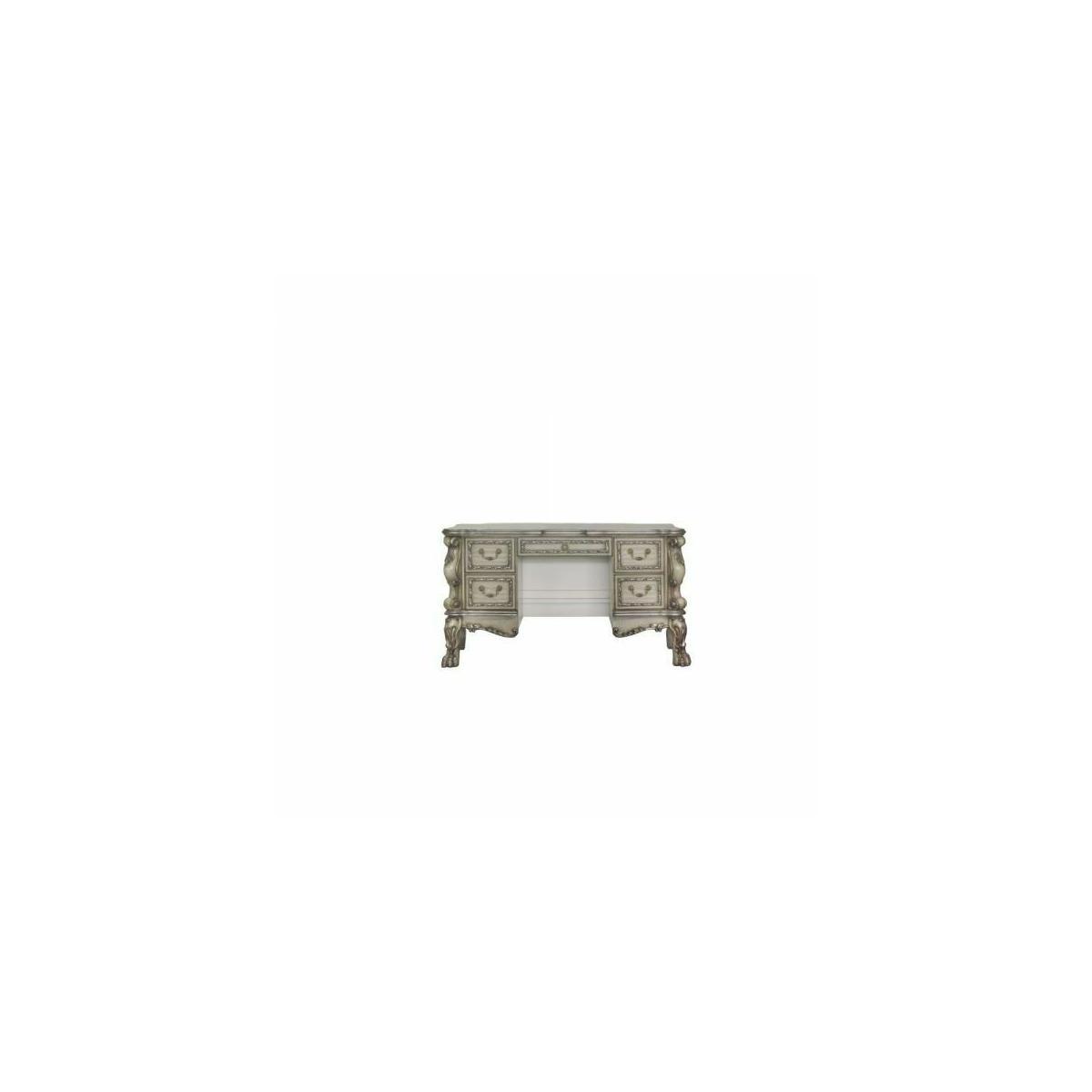 ACME Dresden Vanity Desk - 28193 - Traditional, Vintage - Wood (Poplar), MDF, Poly-Resin - Vintage Bone White