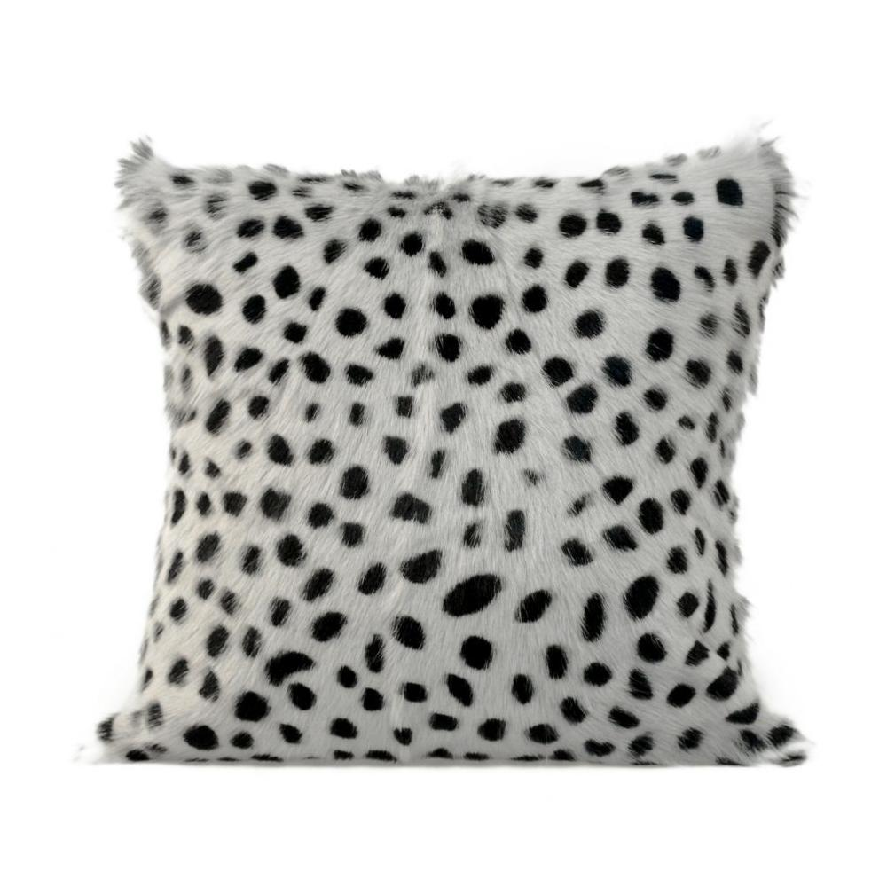 See Details - Spotted Goat Fur Pillow Light Grey