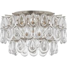 AERIN Liscia 3 Light 15 inch Burnished Silver Leaf Flush Mount Ceiling Light, Small