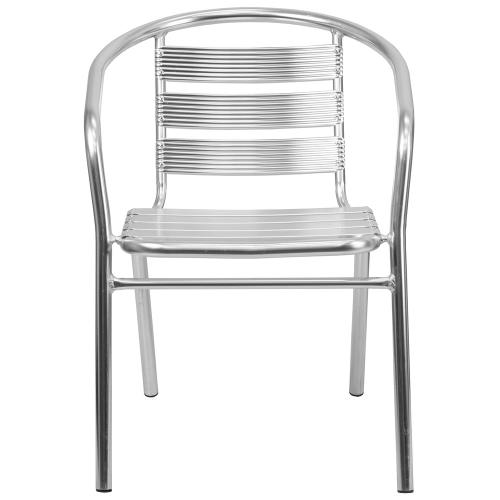 Heavy Duty Commercial Aluminum Indoor-Outdoor Restaurant Stack Chair with Triple Slat Back