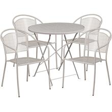30'' Round Light Gray Indoor-Outdoor Steel Folding Patio Table Set with 4 Round Back Chairs