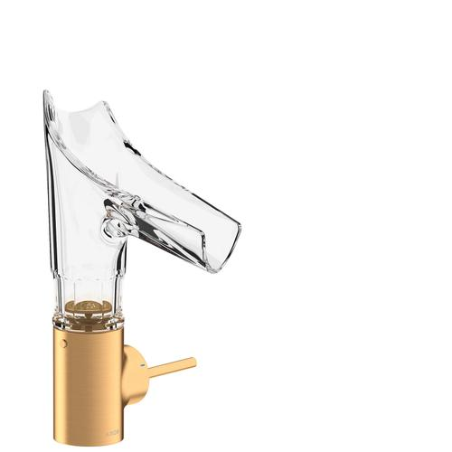 Brushed Gold Optic Single lever basin mixer 140 with glass spout and waste set - bevel cut