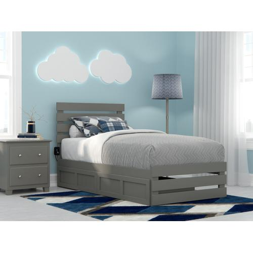 Oxford Twin Bed with Footboard and USB Turbo Charger with 2 Drawers in Grey