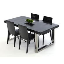 View Product - A&X Skyline - Modern Black Crocodile Lacquer Extendable Dining Table