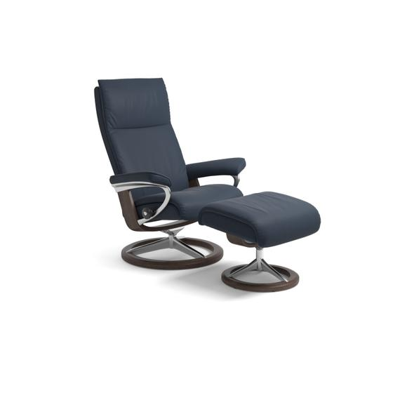 Stressless Aura Medium Signature Base Chair and Ottoman