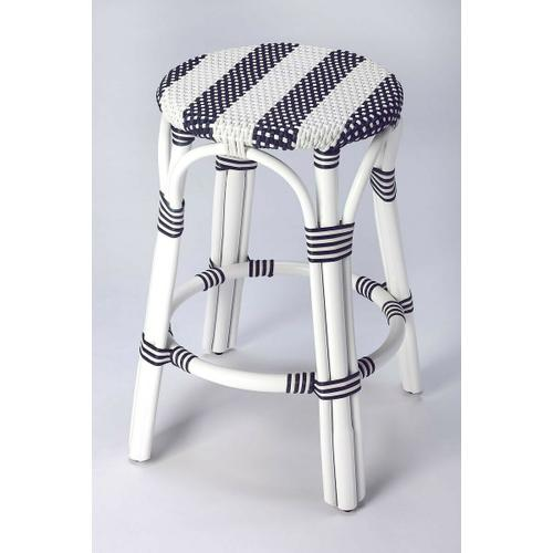 Evoking images of sidewalk tables in the Cote d' Azur; barstools like this will give your kitchen or patio the casual sophistication of a Mediterrnean coastal bistro. Skillfully crafted from thick bent rattan for superb durability; it features weather resistant woven plastic in an updated and fresh pattern. This barstool is lightweight for easy mobility with comfort to make the space it's in a frequent gathering place.