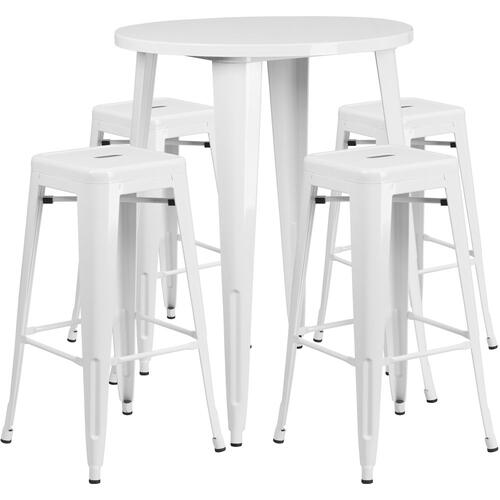 30'' Round White Metal Indoor-Outdoor Bar Table Set with 4 Square Seat Backless Stools