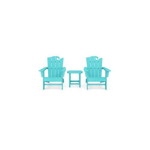 Polywood Furnishings - Wave 3-Piece Adirondack Set with The Ocean Chair in Aruba