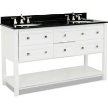 "60"" double White vanity with Satin Nickel hardware, Shaker style, open bottom shelf, and preassembled Black Granite top and 2 oval bowls"