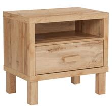 See Details - 1 Drawer Nighstand with Open Storage in Rustic Oak