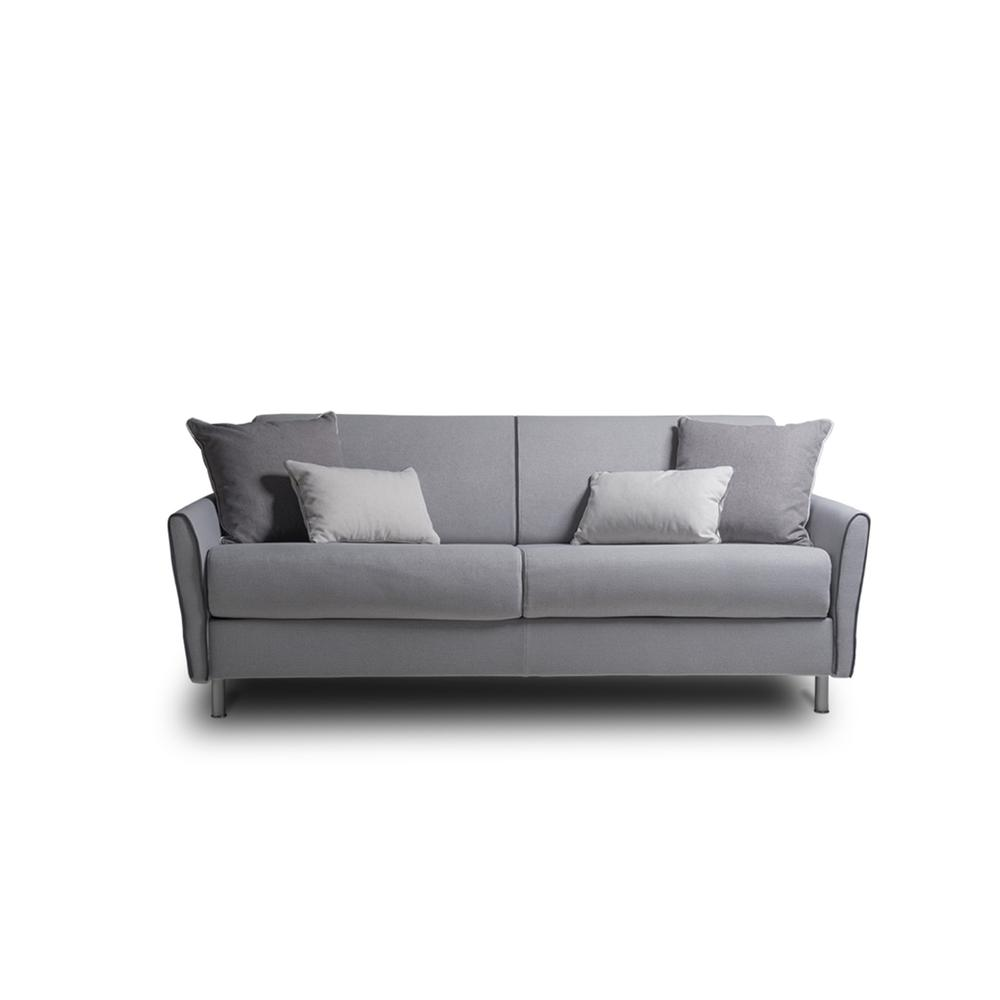 The Habitat Queen Size Sofa Bed In Light Gray Linen With Gray Feet