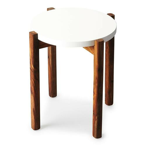 This Del Mar contemporary side table will add interesting style to your home. The straight acacia wood legs with rich woodgrain support a round white top in an exciting contrast of color and texture. The modern shape of this table is fetching.