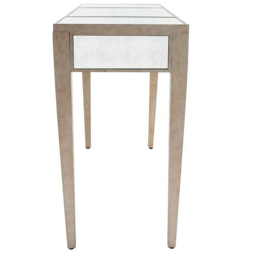 Butler Specialty Company - Trimmed in antique pewter and crafted from Birch Wood solids, this mirrored vanity is a beautiful touch of class in any space! The center lifts to reveal additional storage and a soft felt lining. The right and left drawers are a great place to tuck away personal items.