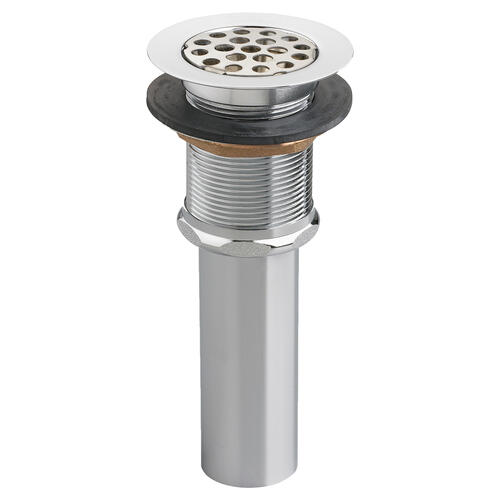 Commercial Grid Drain with Overflow - Brushed Nickel