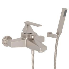 Vincent Wall Mount Exposed Tub Set with Handshower - Satin Nickel with Metal Lever Handle