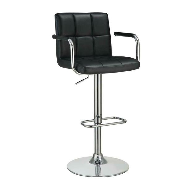 See Details - Contemporary Black and Chrome Adjustable Bar Stool With Arms