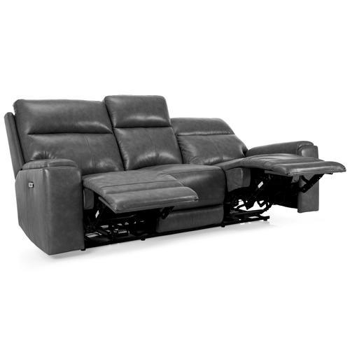 Dark Grey Power Reclining Sofa with Power Head Rest