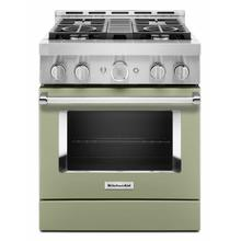 See Details - KitchenAid® 30'' Smart Commercial-Style Gas Range with 4 Burners - Matte Avocado Cream