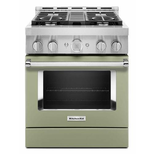 KitchenAid Canada - KitchenAid® 30'' Smart Commercial-Style Gas Range with 4 Burners - Matte Avocado Cream
