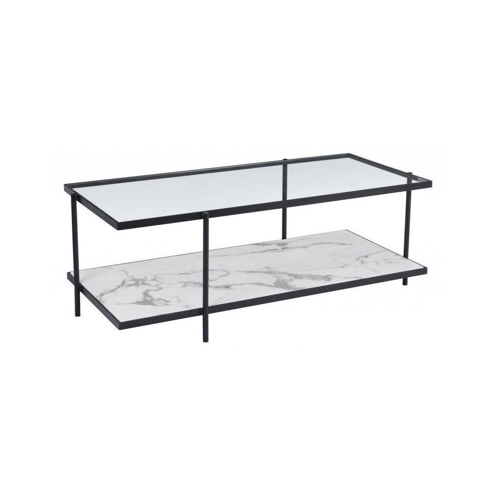 Winslett Coffee Table Clear White & Matte Black