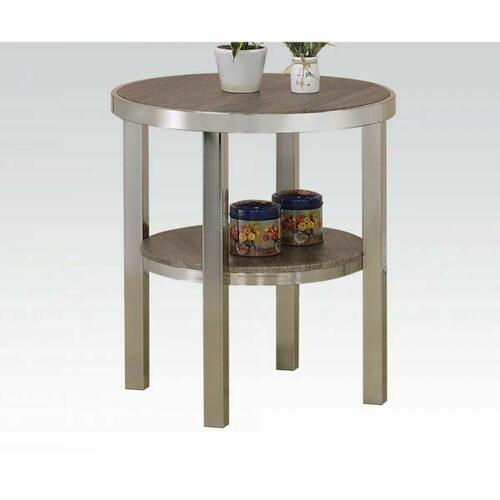 Acme Furniture Inc - ACME Elwyn End Table - 80387 - Walnut & Brushed Nickel